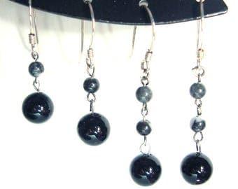 Obsidian beaded sterling silver dangle earrings