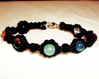 Chakra Bracelet - Gemstone Hemp Bracelet with Chakra Beads Chakra Gemstone Bracelet on Black or Natural Hemp Jewelry Rainbow Bead Bracelet
