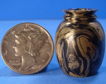"1:12 - 1"" Scale Lathe Turned Black & Gold Carbonite Miniature Vase - IGMA Fellow Bill Helmer"