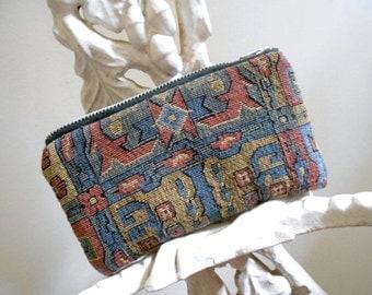 Vtg geometric tapestry zipper wallet, utility pouch, tech case - eco vintage fabrics