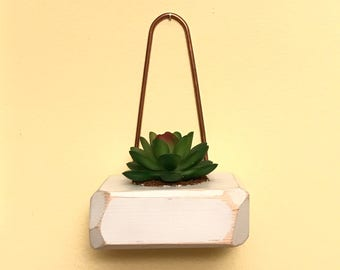 Faceted geometric edge copper wall hanging candle/succulent holder