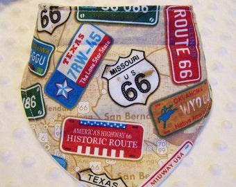 Route 66 Bandana Baby Bib -- Drooler Bib --