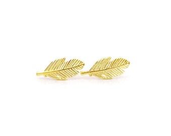 Feather Golden Earring Post Finding (ET058B)