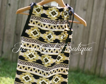 Boutique Aztec Print Girls Dress Newick in Black and Gold with Coordinating Ribbons that Tie Over Both Shoulders