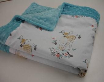 Fawn in Winter Minky Mini Crib Blanket 24 x 43 READY TO SHIP On Sale