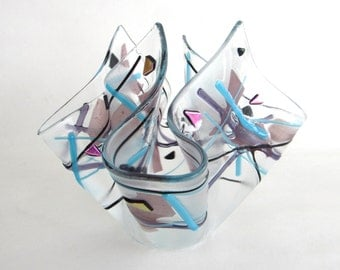 Fused Glass Vase Clear Purple Blue Confetti Art Kerchief Handkerchief Sculpture Votive Candle Holder DawnofCreation Glass