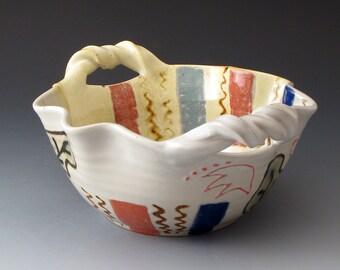 Scalloped Serving Bowl with Leaf Motif, Handmade Ceramic Bowl, Small Serving Dish, Bowls, Fine Art Ceramics