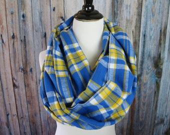 Blue Plaid Scarf  - Yellow Tartan Plaid - Flannel Infinity Scarf