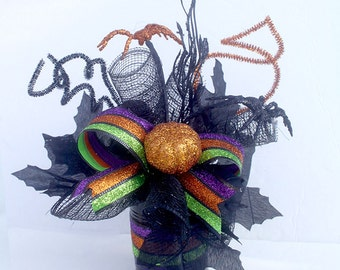 Halloween spider arrangement, Halloween Party Centerpiece, halloween decoration, table arrangements, table decorations, orange and black