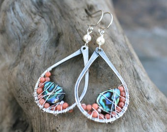 Peach Coral, Abalone Shell, White Pearl, Oxidized Sterling Silver Tear Drop Hoop Earrings, Beach Boho Earrings, Coral, Abalone Shell Jewelry