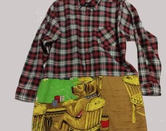 Poker Dog Cotton Flannel Shift Dress