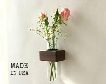 Fridge Magnet - Vase - Magnetic Vase - Kitchen Décor - Kitchen Accent - Small Magnet Vase - Wood and Glass Vase - Modern Kitchen Accent
