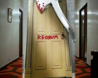 Shining REDRUM door bloody axe horror brooch pin