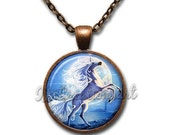 20% OFF - Majestic Unicorn Winter Blue Glass Dome Pendant or with Chain Link Necklace  FT118