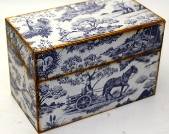 Wood Recipe Box Country Blue Toile Fits 4x6 Recipe Cards