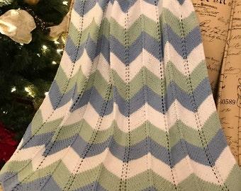 Chevron baby blanket / Knit Baby Blanket / Baby Blanket / Hand Knit Baby Blanket / Handknitted Blanket for baby - Boy
