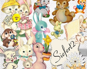Vintage Hares You will get a Jpeg and individual Png images