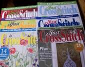 JUST CROSS STITCH magazine 6 issues --D 2008, J/A 2010, S/O 2010, M/A 2010, J/F 2012, N/D 2013