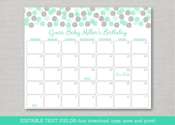 mint silver dot baby due date calendar glitter baby shower