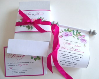 Floral watercolor wedding invitation suite with paper scroll, box and bellyband, silver blush and hot pink roses, (text customizable), 25