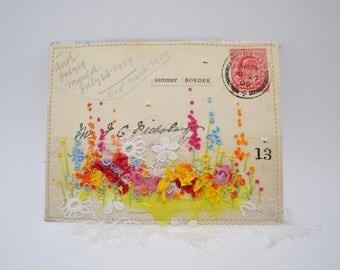 ARTWORK ORIGINAL : Hand embroidered Garden on small 1909 envelope