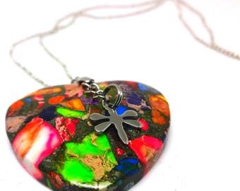 """Rainbow Sediment Jasper Pyrite Heart Pendant-24"""" Stainless Ball Chain, 316L Stainless Steel Dragon Fly Charm Adornment, Mother's Day Gift"""
