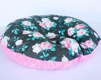 NEWBORN LOUNGER BOPPY Cover / Zipper closure/ Roses cotton print with pink minky dimples, Gray pink cotton print, modern baby nursery