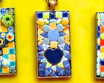 Pendant. Necklace. Mosaic Pendant.  Glass Ceramic Pendant. Tiny Tiles Pendant. Mosaic Necklace. TinyTiles Necklace. Blues Golds Pendant