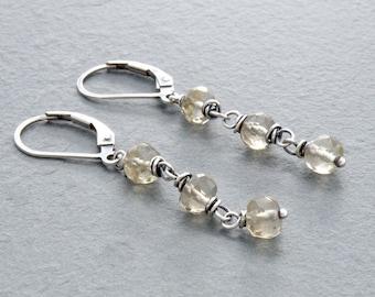 Lemon Quartz Earrings, Pale Yellow Green Earrings, Lemon Quartz Stone Earrings, Yellow Quartz, Lever Back Earrings, Sterling Silver, #4733