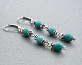 Faceted Turquoise Dangle Earrings, Sterling Silver Wire Wrapped Turquoise Gemstones With Lever Back Ear Wires, #4743