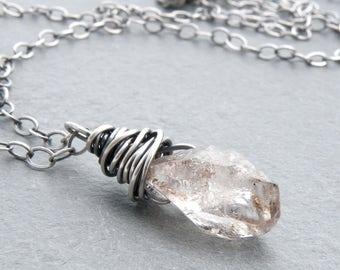 Herkimer Diamond Pendant Necklace, April Birthstone Jewelry, Herkimer Sterling Silver, Herkimer Quartz Necklace  #4788