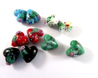 BOGO - 10 Heart Lampwork Beads Black, Red, White, Blue and Teal Green Glass with Flowers 16x10mm - 5 pair - G6085-AS10 - Buy 1, Get 1 FREE