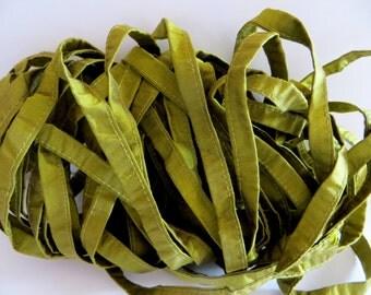 Silk Sari Ribbon, Recycled Olive Cording Sari Ribbon, 10 Yards