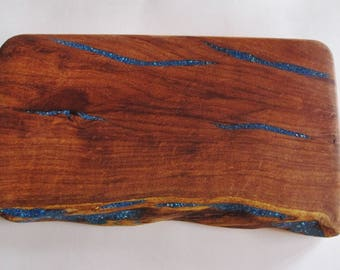 Handcrafted Wooden Cutting Board~Live Edge~Unique~One of a Kind~Turquoise Inlay