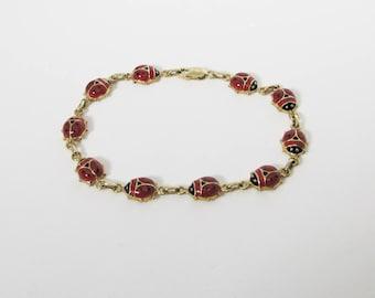 Gold and Enameled Ladybug Bracelet