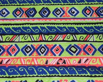 vintage 80s cotton fabric, featuring kitsch neon stripe print, 1 yard, 20 inches EXTRA WIDE