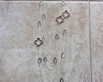 "42"" Silver Clover Link Necklace"