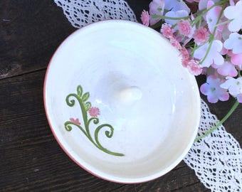Pink Ring Holder w/ Flower Flourish - Ceramic Ring Dish, Wedding or Engagement Ring Holder, Wedding Gift, Engagement Gift