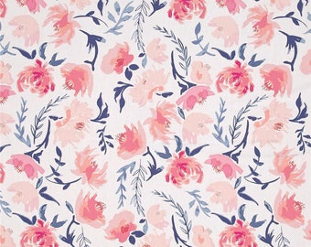 pink floral watercolor fabric, aquarelle study wash, art gallery fabrics, fabric by the yard, floral fabric, pink boho fabric, quilt fabric
