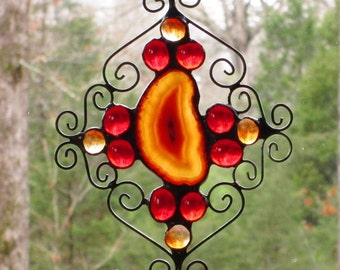 Stained Glass Suncatcher - Red Amber Agate, Red and  Orange Nuggets, and Curly Wire