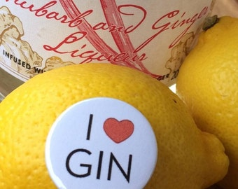 I Love Gin Pin Badge