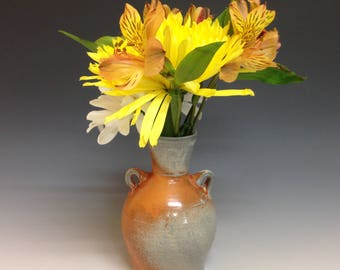 Flower Vase. Bottle Shape. Soda Glazed Stoneware Pottery