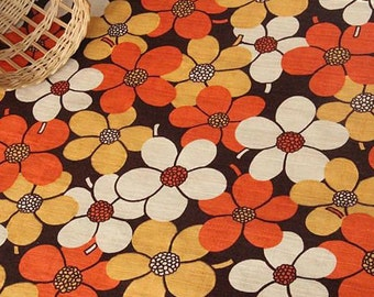 4382 - Japanese Flower Slubbed Cotton Fabric - 43 Inch (Width) x 1/2 Yard (Length)