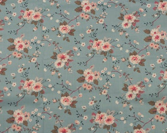 4541 - Cath Kidston Trailing Rose (Pale Blue) Cotton Fabric - 53 Inch (Width) x 1/2 Yard (Length)