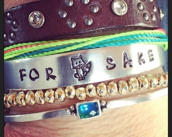 For Fox Sake - hand stamped bracelet