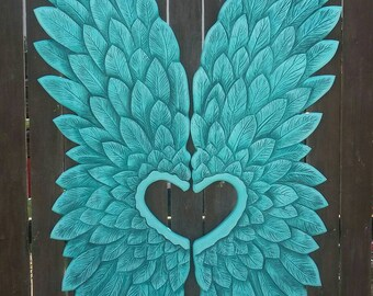 Wood Carved Angel Wings OOAK Gorgeous Large and Impressive