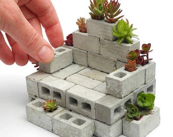 Miniature Cinderblock Couch, Made in the USA, Includes Plants, Care Instructions Included, Handmade, Indoor or Outdoor, Dollhouse Miniature