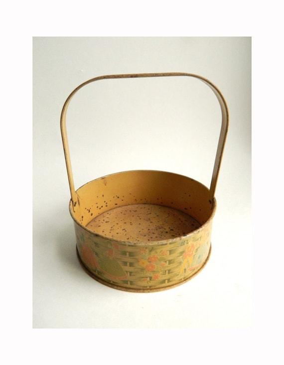 Vintage Tin Litho Easter May Day Basket