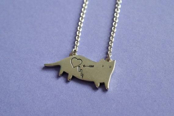Crazy Cat, Handmade Sterling Silver Necklace, Limited Edition, Collaboration with ilikeCATs,