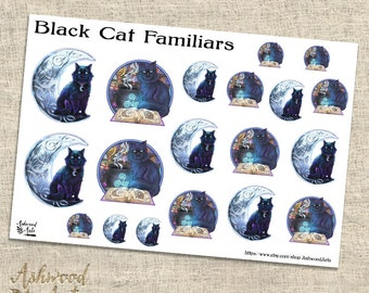 Black Cat Witch Familiar Pagan Planner Stickers